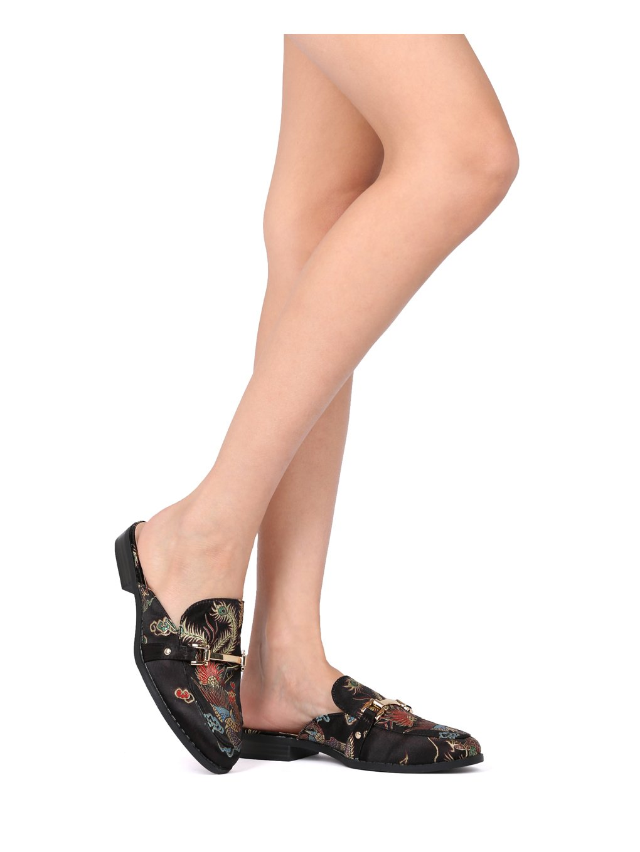 Alrisco Women Satin Brocade Phoenix Horsebit Loafer Slide HF84 - Black Satin (Size: 6.5) by Alrisco (Image #5)