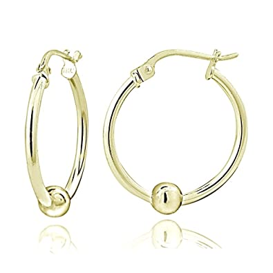 c1af53e11 Amazon.com: Hoops & Loops Flash Plated Gold Sterling Silver 18mm Round Bead Hoop  Earrings: Jewelry