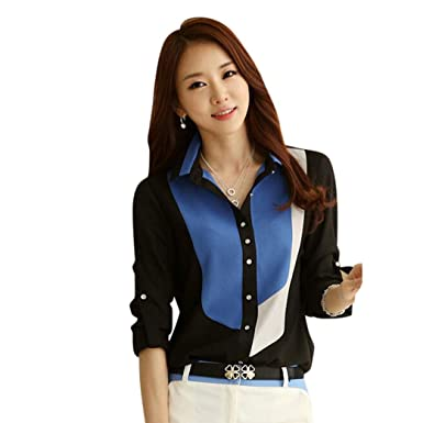 04104cdd8ebb5 LILICAT Womens Long-Sleeve Block Color Printed Blouse Ladies Chiffon T-Shirt  Tops Ladies Office Wear Sexy Lapel V Neck Elegant T-Shirt Plus Size Loose  ...
