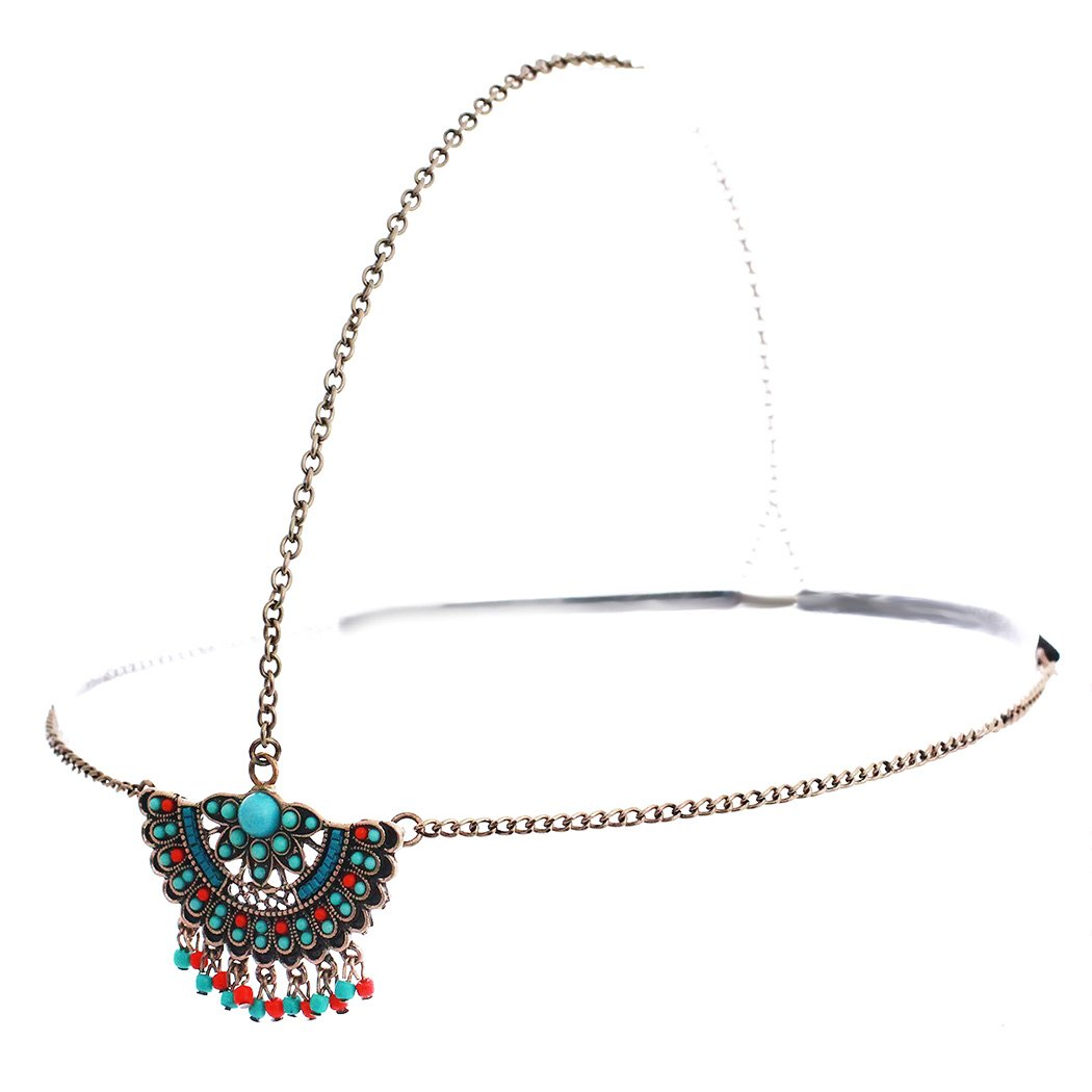 Rosemarie Collections Women's Boho Style Turquoise Fan Style Head Chain Headband (Antique Gold) by Rosemarie Collections