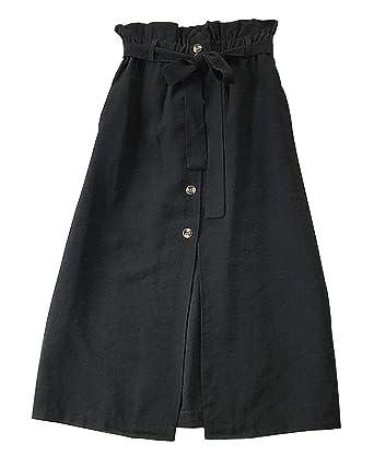 1d528c880d Yimoon Women's Solid Bowknot Belted Elastic Waist Cotton Linen Midi Skirt  Button Front A-Line