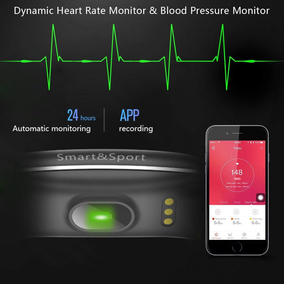 SUPTEMPO El Mejor Pulsera de Actividad Inteligente - Pulsera Actividad Reloj Inteligente con Monitor Presión Arterial y Frecuencia Cardíaca, para ...