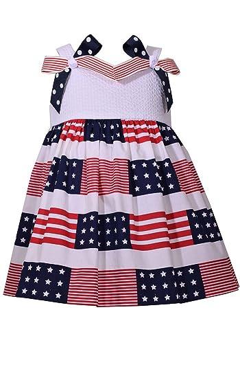 9bc592428de4 Amazon.com  Bonnie Jean Little Girls 2T-6X Patriotic Red White and Blue Bow  Dress - Kids July 4th Dress  Clothing