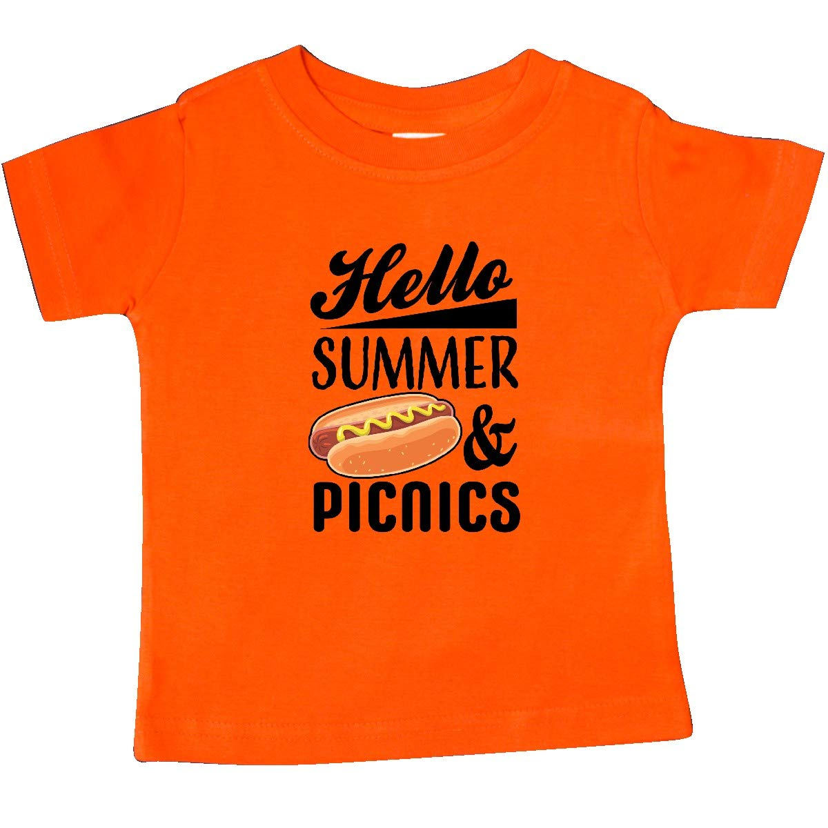 inktastic Hello Summer and Picnics with Hot Dog Baby T-Shirt
