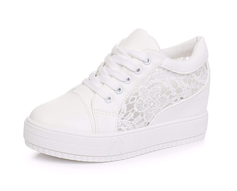 GTVERNH Damenschuhe Mode Im Frühling und Sommer Spitzen Mesh Atmungsaktive Student Schuhe Verdickte Unten Lässige Schuhe Weiße Sportschuhe Frauen Spielen.
