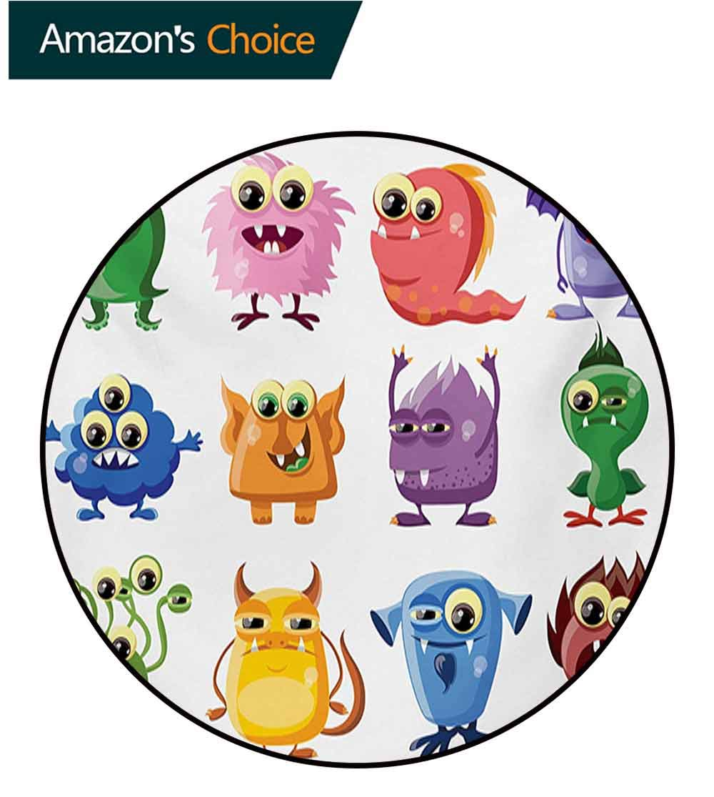 RUGSMAT Funny Non Slip Round Rugs,Animated Bacteria Aliens Theme Germ Whimsical Cartoon Monsters Humor Faces Graphic Oriental Floor and Carpets,Diameter-47 Inch Multicolor