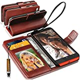 NOKIA LUMIA 630 Rich Leather Stand Wallet Flip Case Cover Book Pouch / Quality Slip Pouch / Soft Phone Bag (Specially Manufactured - Premium Quality) Antique Leather Case With Mini Touch Stylus Pen Brown