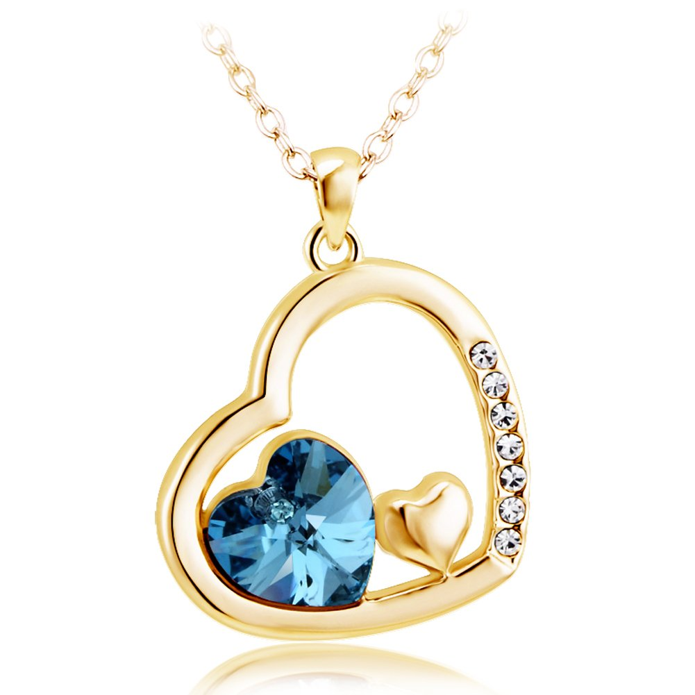 BLOOMCHARM ''TO MY LOVE '' Necklace Pendant, Blue Crystals Jewelry, Birthday Gifts for Women Girls