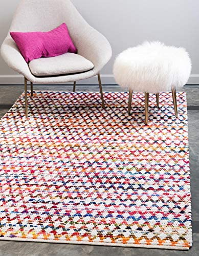 Unique Loom Braided Chindi Collection Casual Modern Multi Area Rug 9 0 x 12 0