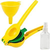 Manual Lemon Squeezer - Premium Quality Lime Juicer - Aluminum Citrus Juicer with Cooking Sprayer & Mini Funnel