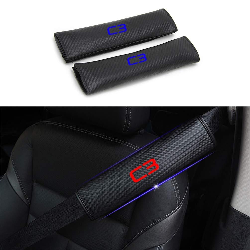Maiqiken 2 Almohadillas para cintur/ón de Seguridad de Coche de Fibra de Carbono con Pegatinas Reflectantes para C3