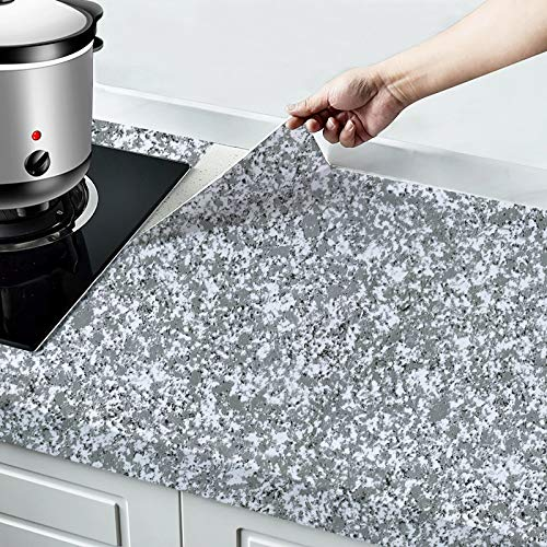 """Granite Contact Paper for Countertops Self Adhesive Paper for Bathroom Counters 17.7""""x118"""" Thicken Glossy Surface Removable Paper Peel and Stick Waterproof Marble Contact Paper for Table Desk Vinyl"""