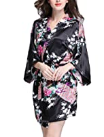 BELLOO Ladies Silk Satin Kimono Robe Short Dressing Gown Peacock and Blossom Style