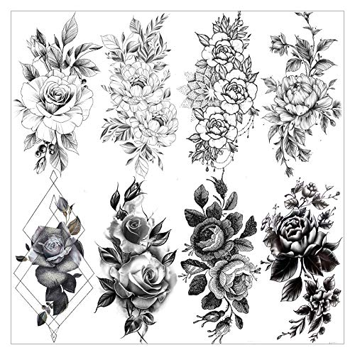 VANTATY 8 Sheets Petal 3D Black Flower Rose Temporary Tattoos For Women Waterproof Fake Body Art Arm Sketch Tattoo Stickers For Girls Shoulder Arm Leaf Tatoo Adults Beauty.