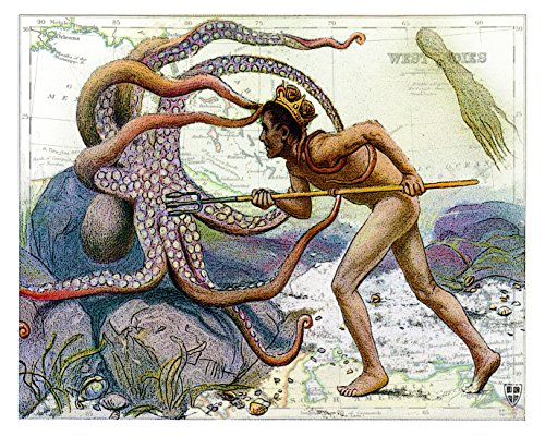 Beautiful 8x10 Fine Art Print of Young Neptune Fighting an Octopus, Overlaid on a 19th Century Reproduction Map of the Caribbean West Indies. Size: 8x10 Inches (NepOctMap810)