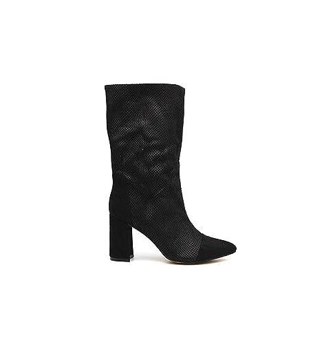 Corina Botas mujer media caña negra con tacón | Envíos