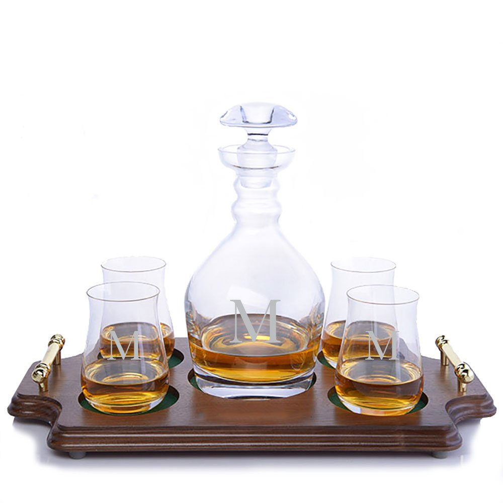 Personalized Ravenscroft Lead-free Crystal Jefferson Whiskey Liquor Decanter & 4 Single Malt Scotch Whisky Glasses & Walnut Serving & Presentation Tray with Brass Handles Engraved & Monogrammed