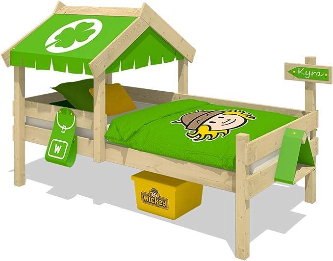 WICKEY Cama infantil CrAzY Buddy Cama individual 90x200 Cama aventuras con techo y somier de madera, verde manzana
