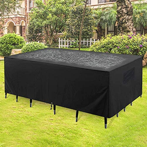 """GARDRIT 2020 Upgraded Patio Furniture Covers, 100% Waterproof Rectangular Patio Table Cover, 90"""" L x 56"""" W x 27.5"""" H 600D Tear-Resistant Sofa, Table and Chair Outdoor Furniture Set Covers"""