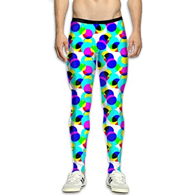 MADSDKFULA Seamless Geometric Pattern Men Running Tight Trousers Workout Sport Long Pants