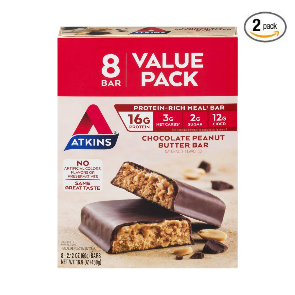Atkins Protein-Rich Meal Bar, Chocolate Peanut Butter, 2.12 Ounce each Bar- 16.9 Ounce (Pack of 2)