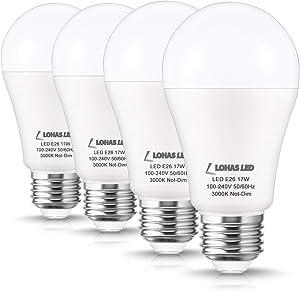 LOHAS LED 150W Equivalent Light Bulb, A19 LED Bulb 17Watt, 1600 Lumen High Brightness, Soft White 3000K, E26 Medium Screw Base Bulb for Garage, Kitchen, Living Room, Floor Lamp, Non-Dimmable, 4 Pack