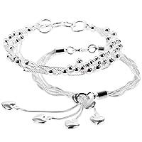 Lictin 2 PCS Bracelet en Argent Bracelet à Frange de 20 CM Bon Cadeau pour Anniversaire Noël,Saint-Valentain et Saint-Valentin