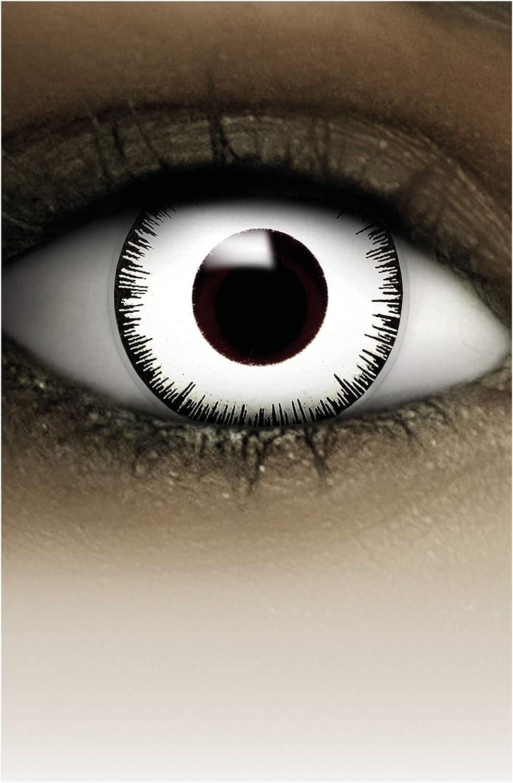 FXCONTACTS Lentes de contacto de Halloween de color, lentilla de motivo blanco, 1 par, un solo uso sin receta, disfrazarse como un VAMPIRO