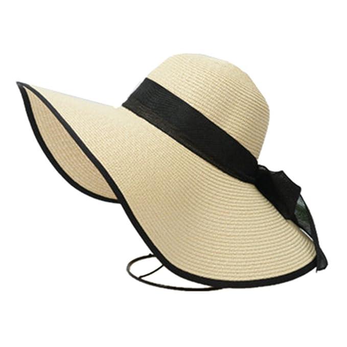 78b3d1f4369 DUOLAIMENG Womens Big Bowknot Straw Hat Foldable Roll up Sun Hat Beach Cap  Wide Brim Packable