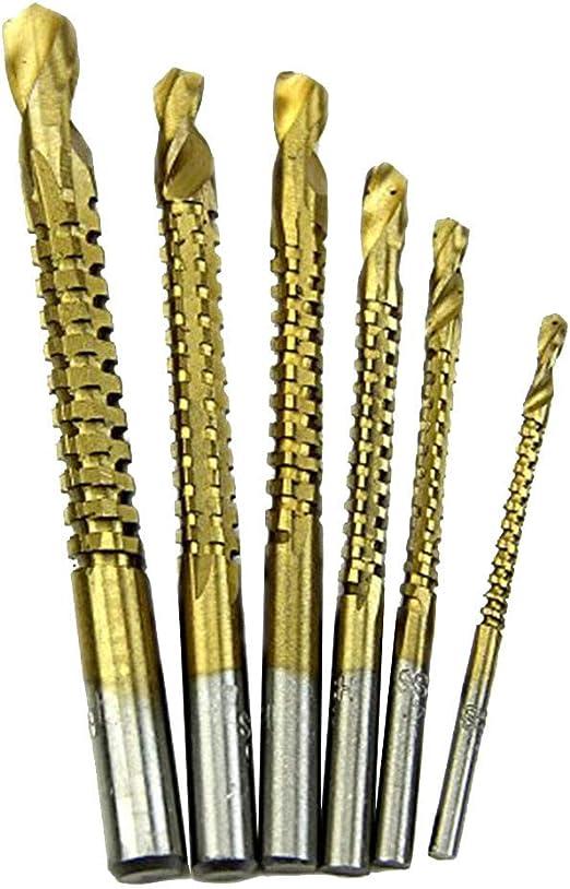 6pc HSS Ti Step Drill Bit Set Woodworking Wood Metal Cutting Hole Saw Tool 3-8mm