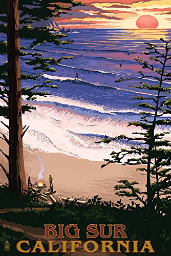 Big Sur, California Surfing and Sunset (9x12 Art Print, Wall Decor Travel Poster)