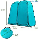 Quictent 2-Room Pop Up Automatic Rod Bracket Shower Tent/Changing/Toilet Room Shelter Outdoor Waterproof and Anti-UV With Carry Bag (Green two room)