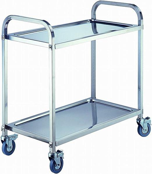 ybaymy Carro de acero inoxidable con 2 estantes, 80 cm, para ...