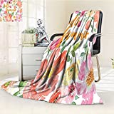 YOYI-HOME Silky Soft Plush Warm Duplex Printed Blanket,Wreath Classic Frame Border with Hello Summer Note Congratulation Event Image Pink Coral Green Anti-Static,2 Ply Thick Blanket /W47 x H59