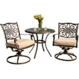 Hanover TRADITIONS3PCSW Traditions 3-Piece Deep-Cushioned Outdoor Bistro Set, Includes 2 Deep Cushioned Swivel-Rockers and 32-Inch Round Bistro Table