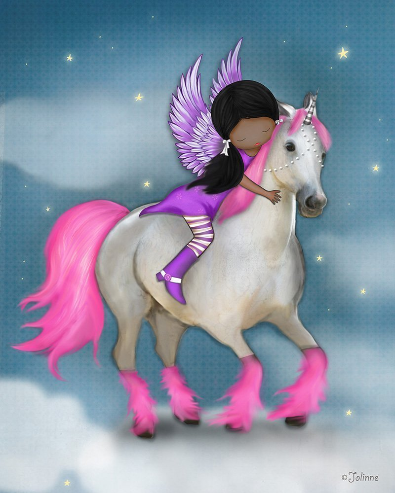 African American Girl Unicorn Children's Room Decoration Nursery Picture Kids Horse 8x10 Unframed Artwork