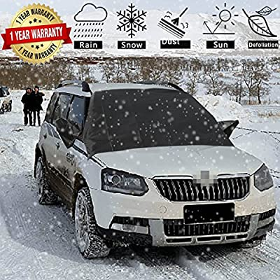 "DeDElectr Car Windshield Snow Cover-Universal Smart Windshield Cover for Ice and Snow Frost Winter 4 Seasons Waterproof Windshield Protector for Fits Most Car, SUV, Truck, Van with 83.46""x 48.03"""
