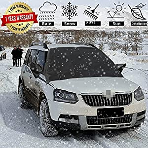 "Car Windshield Snow Cover-Universal Smart Windshield Cover for Ice and Snow Frost Winter 4 Seasons Waterproof Windshield Protector for Fits Most Car, SUV, Truck, Van with 84.6""x 49.2"""