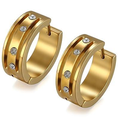 6d101202b713 Flongo Pendientes Para Hombre Mujer Unisex Acero Inoxidable Pendientes de Aros  Dorados Hoops Hip Hop Con Diamantes Brillantes Pendientes Oro 2cm Pulidos