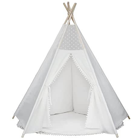 Princess Teepee Fairy Tent - 5u0027 Large Handcrafted White Lace Pompon Cotton Canvas Play Tent  sc 1 st  Amazon.com & Amazon.com: Princess Teepee Fairy Tent - 5u0027 Large Handcrafted ...