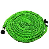GenLed Expandable Garden Hose 50FT Strongest Expanding Garden Hose on The Market with Triple Layer Latex Core & Latest Improved Extra Strength Fabric Protection for All Your Watering Needs(Green)