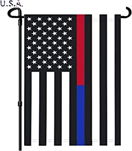 NECOA Thin Red and Blue Line American US Flag Garden Flag Vertical Double Sided, Patriotic USA Honoring Law Enforcement Officers and Firefighters Flag Yard Outdoor Decoration 12.5 x 18 Inch