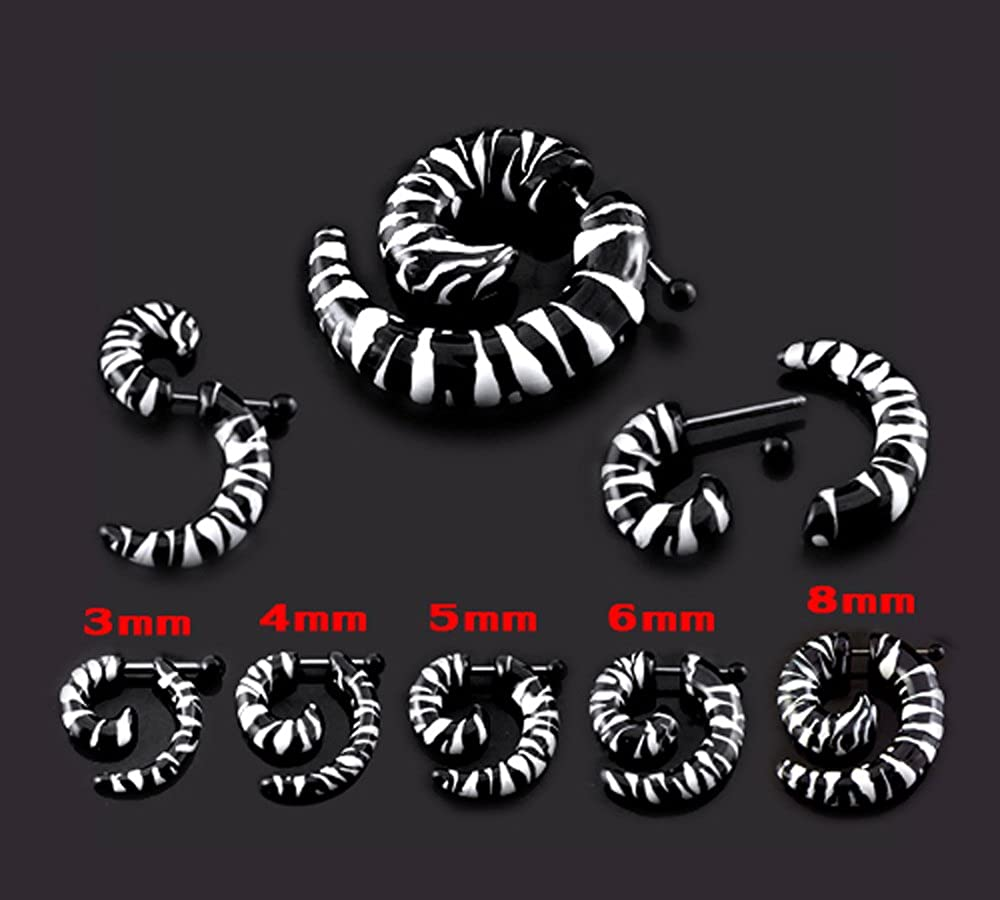 AtoZ Piercing Zebra Pattern UV Acrylic Spiral with 16 Gauge Surgical Steel Fake Ear Plugs Gauge Earring
