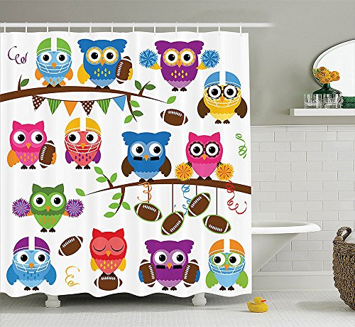 Owls Home Decor Collection Sporty Owls Cheerleader League Team Helmet Coach Football Sports Design Polyester Fabric Bathroom Shower Curtain Purple Pink Blue (Saints Cheerleader Costume)