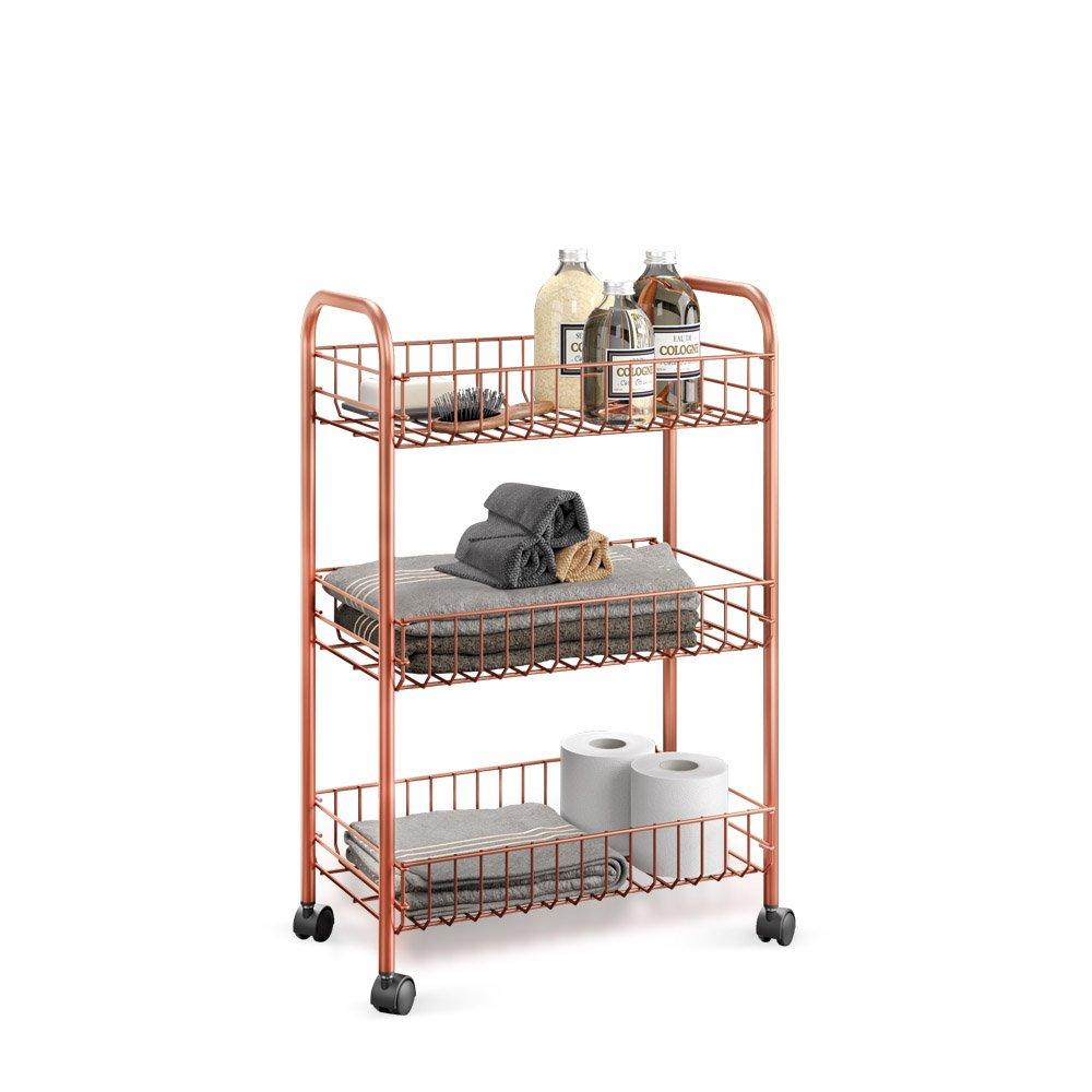 Metaltex 'Lugano' 3-Tier Rolling Cart, Polytherm Copper, 41 x 23 x 63 cm