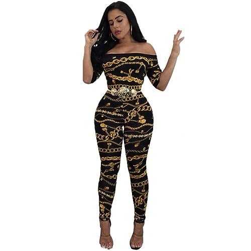 Mujeres atractivas ajustadas cadena impresa con una palabra hombro pieza pantalones mono