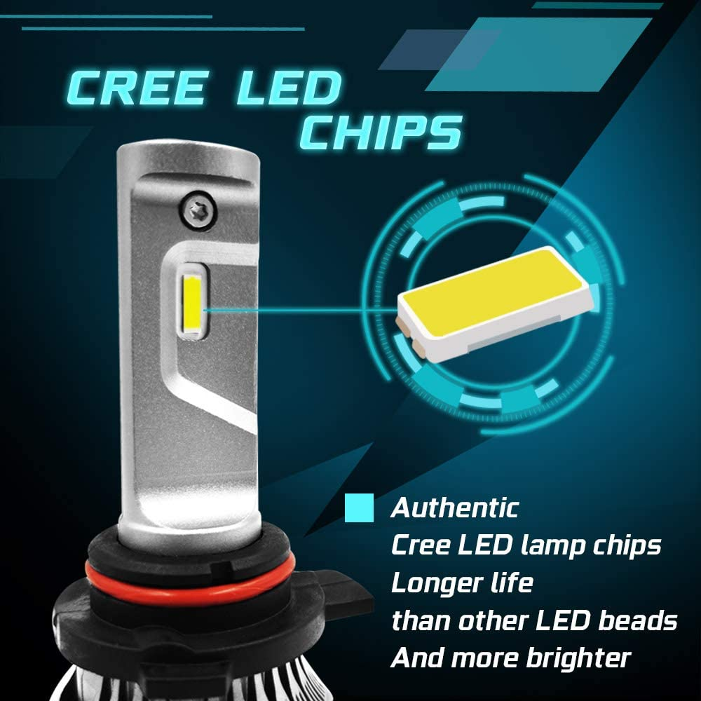 9012 LED Headlight Bulbs HIR2 Bright White 60W 6500K 10000LM High Low Beam Cars Led Headlight Conversion Kits with 12000PRM Cooling Fans 2 Years Warranty 2 Packs