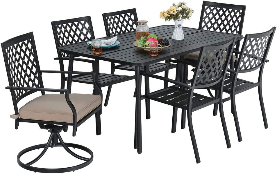 MF STUDIO 7-Piece Metal Outdoor Patio Dining Bistro Set with 6 Armrest Chairs and Steel Frame Slat Rectangular Table, L59 x W35 x H28 Table, 4 Backyard Garden Striped Chairs, 2 Swivel Chairs, Black