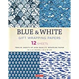 Blue & White Gift Wrapping Papers: 12 Sheets of High-Quality...