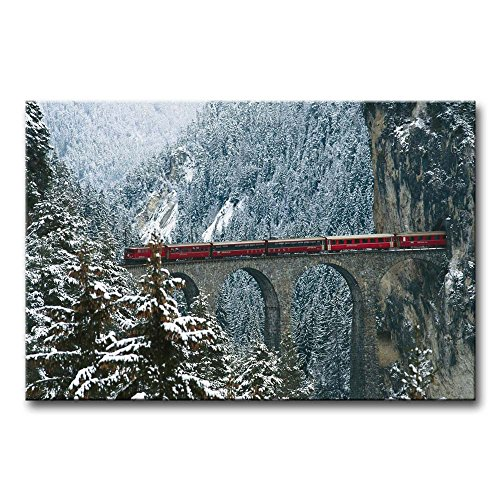 So Crazy Art Wall Art Painting Engadin Valley Swiss Alps Bridge With Red Train In Winter Pictures Prints On Canvas City The Picture Decor Oil For Home Modern Decoration Print For Girls Bedroom ()